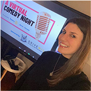Alicia Linklater smiling on the Rotary Club's virtual comedy night