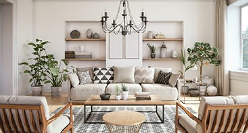 photo of beautiful white living room with couch, table and chairs